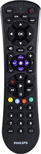 Philips Universal Remote Control for Samsung, Vizio, LG, Sony, Sharp, Roku, Apple TV, RCA, Panasonic, Smart TVs, Streaming Players, Blu-ray, DVD, 4-Device, Black, SRP9243B/27