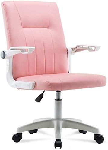 Silla de escritorio de oficina con respaldo medio de piel, altura ajustable, giratoria, silla ergonómica, silla de trabajo con brazos -54895R7T6N