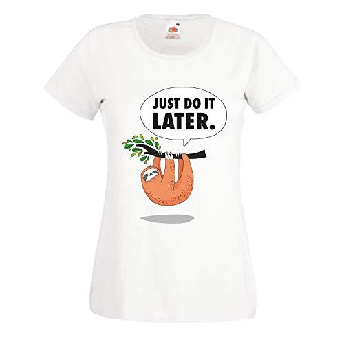 Shirt-Panda Damen Just do it Later Faultier hängend T-Shirt Frauen Chillen Sloth Weiß M