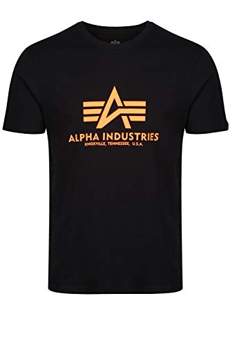 Alpha Industries T-Shirt Basic schwarz weiß blau braun grün Olive Burgundy gelb (XXL, Black/Neon Orange)