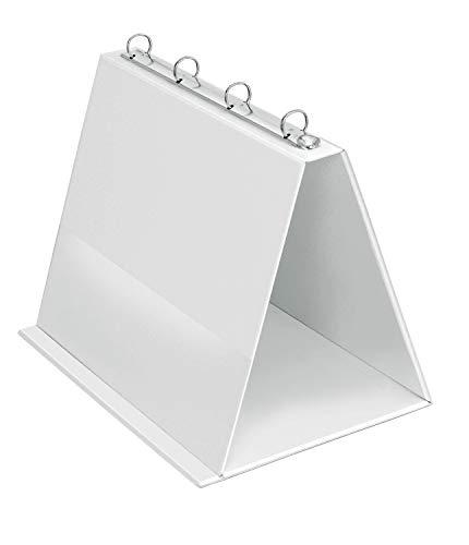 VELOFLEX 4101090 Tisch-Flipchart A4, Präsentation, Flipchart, Aufstellringbuch, aus PVC, Querformat, Weiß, 1 Stück