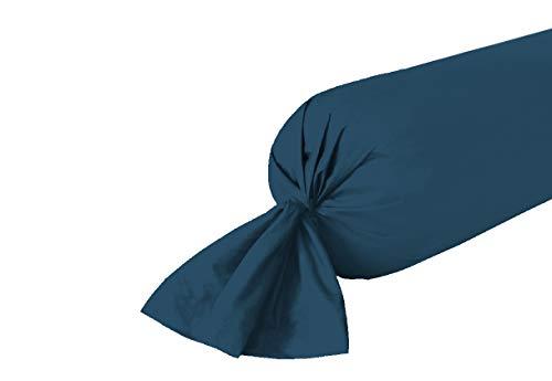 UNIVERS-DECOR Taie de traversin 45 x 185 cm / 100% Coton / 57 Fils/cm² (Bleu Marine, Taie de traversin 45 x 185 cm)