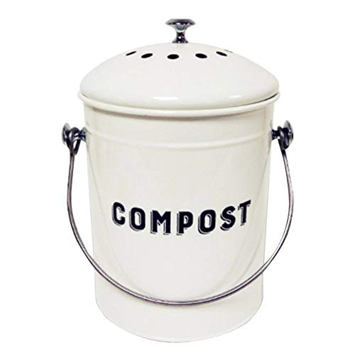 Renwu 5L Komposteimer Edelstahl Küchenabfallbehälter Mit Deckel Kompostbehälter Komposter Maschine Mülleimer Abfalleimer Für Jeden Umweltfreundlichen Haushalt,Gallone Anti Weiß