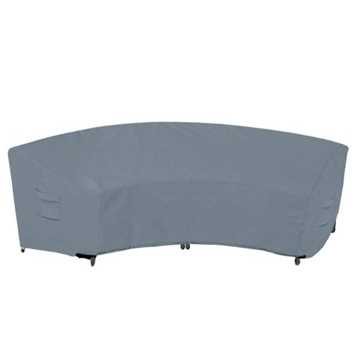 Yolaka Garden Furniture Covers Outdoor Sectional Curved Sofa Protector for Half-Moon Couch Sets 305x91x99 Grey Waterproof