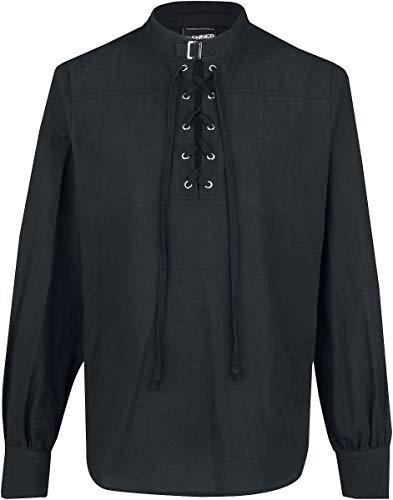Banned Alternative Schnürhemd mit Schnalle Männer Hemd schwarz 5XL