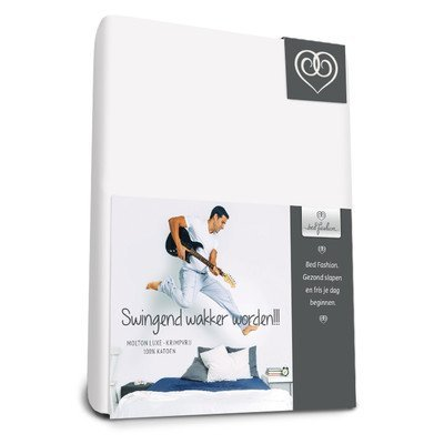 Bed-Fashion flanel topper hoeslaken 80 x 210 cm, Katoen, Wit, Enkel