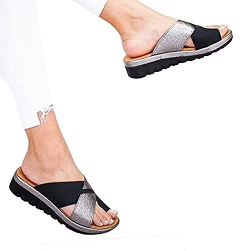 女性整形外科サンダルクロスバルガス、外反母趾足矯正サンダルフラットビッグトゥボーン整形外科靴ビーチサンダルのアーチサポート付きサマービーチシューズ,004,36EU