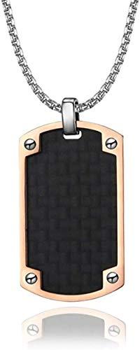 Collar Collar Colgante De Fibra De Carbono con Etiqueta De Perro para Hombre para Soldado del Ejército Militar Regalo De Joyería Eslabón De Cadena De Acero Inoxidable De 24 Pulgadas