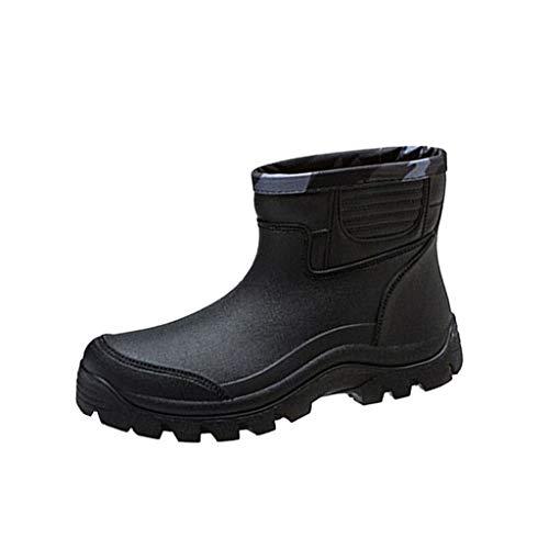 CIELLTE - Botas de lluvia para hombre, goma de pescar de cocina, botas de lluvia para hombre, tubo corto y antideslizante, impermeables, cubiertas para zapatos bajos, Hombre, Negro , 39 EU