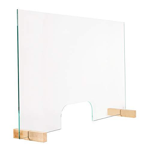Glas Expert Spuckschutz mit Durchreiche aus 6mm ESG-Sicherheitsglas, Virenschutz Hustenschutz Niesschutz - Tischaufsatz 60cm Höhe 100cm Breite
