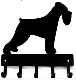 The Metal Peddler Miniature Schnauzer Natural Ears Key Rack Dog Leash Hanger - Large 9 inch Wide