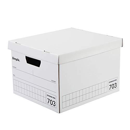 ZQ&QY Cartón Plegable Caja De Almacenaje con Lid,Pesado-Set Rápido De Servicio-hacia Arriba Caja De Almacenamiento,Ahorro De Espacio De Alta Capacidad Contenedor De Almacenamiento-Blanco. 35x26x26cm