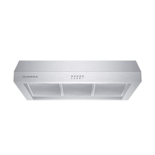 CIARRA CAS75908A Range Hood 30 inch, Pro-Style Under Cabinet Hood with 3 Speed Exhaust Fan, Stainless Steel Stove Hood Vent for Kitchen with Cast Aluminum Motor Housing, Mesh Filters, Push Button