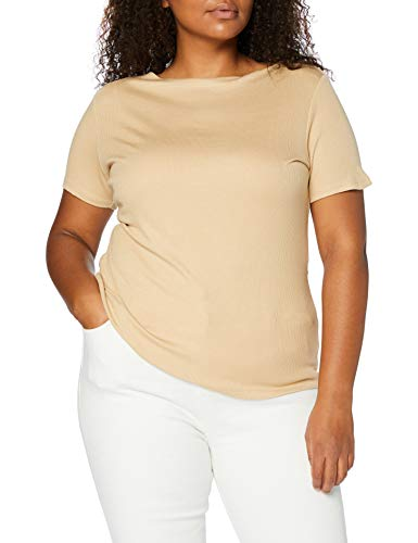 Amazon-Marke: MERAKI Damen T-Shirt mit U-Boot-Ausschnitt, Beige (Light Tanne), 36, Label: S