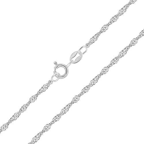 PLANETYS - Kinder und Baby Singapurkette 925 Sterling Silber Rhodiniert Kette - 2 mm Breite Längen: 40 cm