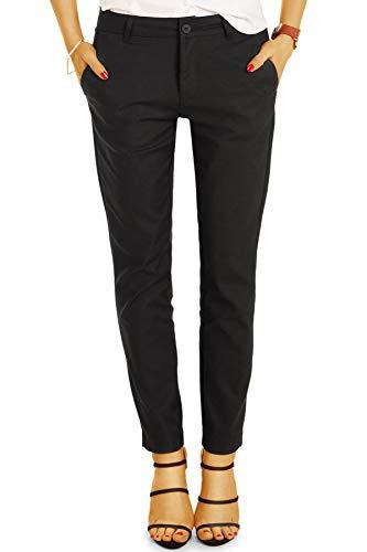 BE Styled Damen Hosen Stoffhose, Bequeme röhrige lockere Passform, mit Stretch - Damen Anzug Chino j8k 36/S schwarz