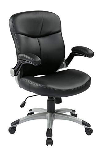 Office Star Mid Back Bonded Leather Executives Chair with Padded Flip Arms and Silver Coated Accents, Black