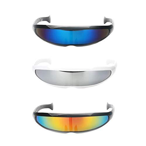 P Prettyia 3er Pack Futuristische Sonnenbrille verspiegelte Partybrille