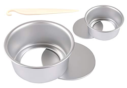 2 Moldes Redondos de Aluminio Moldes ,Aptos para Reuniones Familiares para Hacer Moldes para Pasteles,con 2 Tamaños (4 Pulgadas + 6 Pulgadas + 1 Stripper)