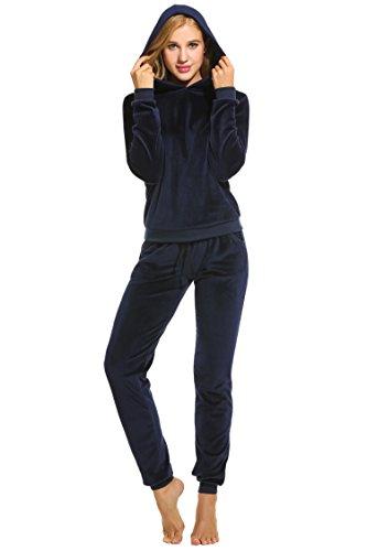 UNibelle Donna Tute Felpa con Cappuccio Tuta Training Sportivo Due Pezzi Felpa +Pantaloni Casual Tuta Invernale Autunno Navy Blu
