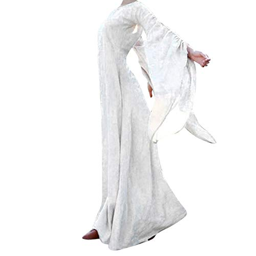 Aiserkly Damen Herbst Winter Mittelalter Vintage Retro Maxi Kleid Solide Langarm Gothic Kostüm Ballkleider Abendkleid Renaissance Kostüm bodenlangen Cosplay Karneval Partykleid Weiß 3XL