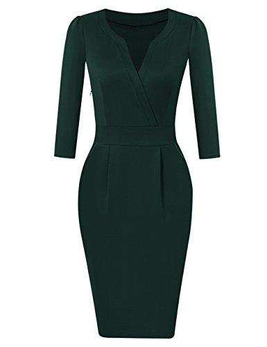 KOJOOIN Damen Elegant Etuikleider Knielang Langarm Business Kleider Grün Dunkelgrün L