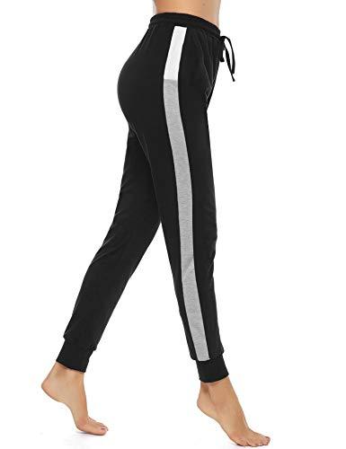 Akalnny Jogginghose Damen High Waist Trainingshose Baumwolle Lang Sweathose Sporthose Freizeithosen mit Taschen Yogahosen Fitness Hosen