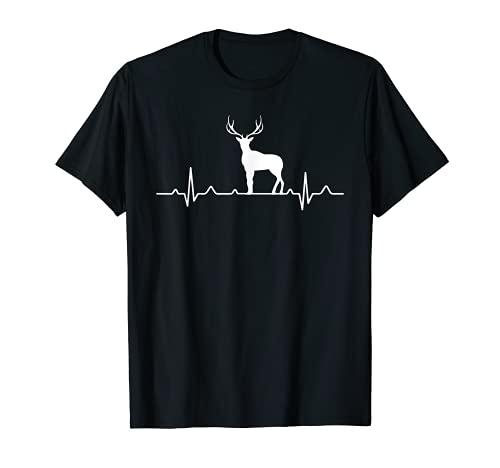 Hirsch Herzschlag Jäger I EKG Jagd Rotwild Motiv für Jägerin T-Shirt