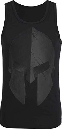 Camiseta sin Mangas: Casco Esparta - Train Hard - Fitness T-Shirt Hombre-s y Mujer-es - Camisa Sport Deporte - Body-Building - Regalo Sparta - Tank-Top Chalecos Athletic Vest - Gym Muscle (3XL)