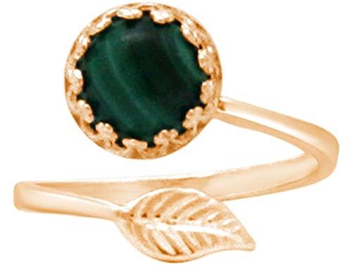 Gemshine Damen Ring mit grünem Malachit Edelstein - Größenverstellbar. 925 Silber, hochwertig vergoldet oder rose - Qualitätsvoller Schmuck Made in Spain, Metall Farbe:Silber vergoldet