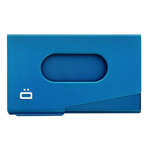 Ögon Smart Wallets - One Touch Aluminium Visitenkarten hülle - Für 15 Karten - Kompakt, minimalistisch und widerstandsfähig - Schützen und verteilen Sie Ihre Karten mit Einer Geste (Blau)