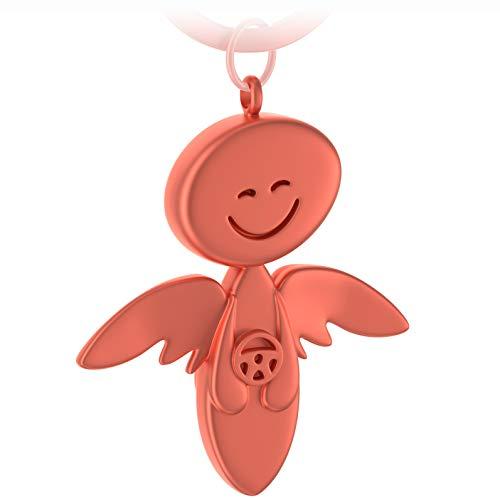 FABACH Schutzengel Schlüsselanhänger Smile mit Lenkrad - Edler Engel Anhänger aus Metall in mattem Rosegold - Geschenk Glücksbringer Auto Führerschein - Fahr vorsichtig