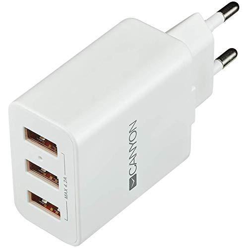 CANYON CHA05 Cargador USB de Pared 5V / 4.2A, 3 x Puerto USB Adaptador de Carga con tecnología Inteligente de IC Cargador para iPhone iPad Tablet Samsung