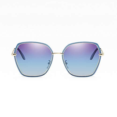 LCSD Gafas de Sol Nuevas Damas Polarizadas Gafas De Sol Poligonales Moda Moda Gafas De Montura Grande Protección UV400 Azul Degradado Púrpura Lente