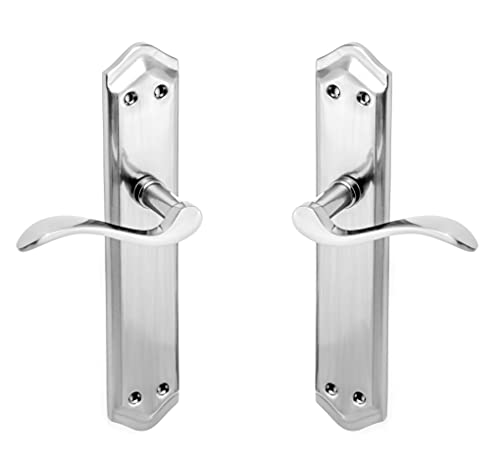 ARCO · Juego de manillas con placa para puerta, acabado níquel satinado. Fabricado en aluminio