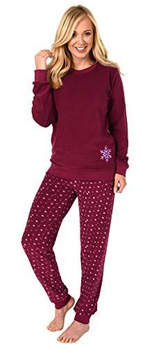 Damen Frottee Pyjama Schlafanzug Langarm mit Bündchen und Eiskristall Motiv 281 201 03 004, Farbe:rot, Größe2:36/38