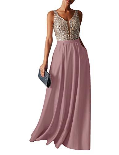 HUINI Abendkleid Lang Damen Ballkleider Hochzeitskleid Vintage Glitzer Cocktail Partykleider Brautkleider Altrosa 40