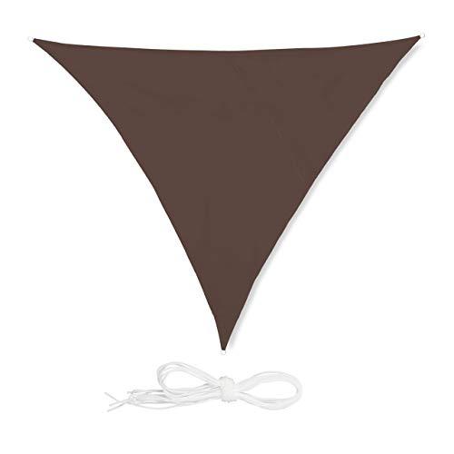 Relaxdays, Marrón Toldo Vela Triangular, Impermeable, Protección Rayos UV, con Cuerdas para tensar, 4x4x4 m