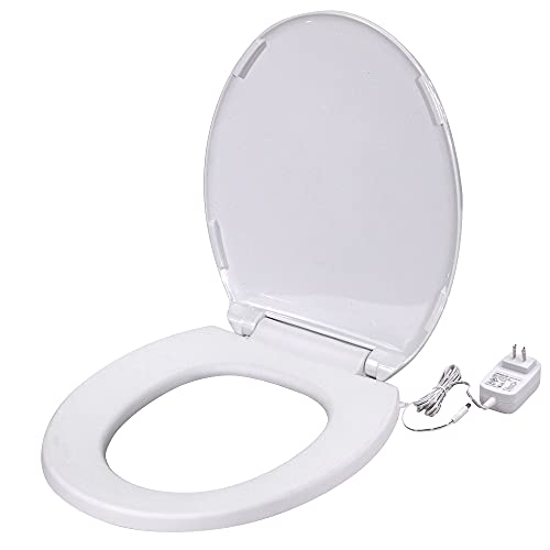 UltraTouch 01811 12 Watt/12 Volt UL-Listed Anti-Microbial Soft Round Bowl White Heated Toilet Seat for Standard American Bathrooms