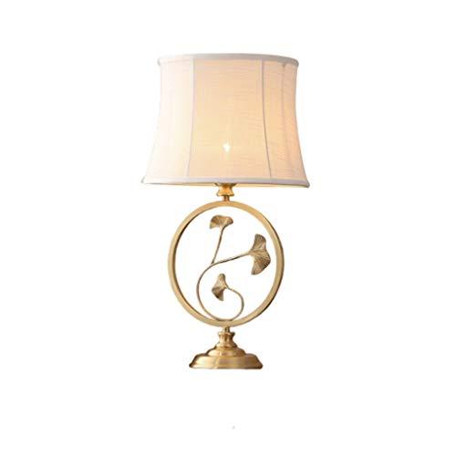 Lámpara de mesa creativa Estilo chino lámpara de mesa con el cobre del cuerpo de hoja de loto en forma de lámpara de escritorio for el dormitorio y sala de estar de noche lámpara de mesa Lámpara de es