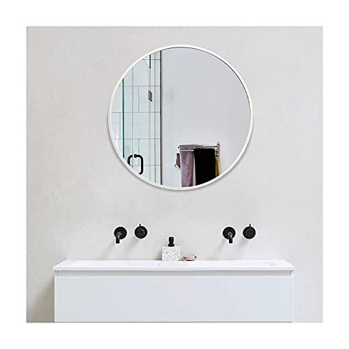 Muzilife - Espejo redondo de vidrio, diámetro de 60 cm, alta definición, de pared, con marco de metal, para tocador, cuarto de baño o dormitorio (plateado)