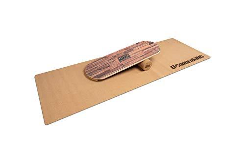 BoarderKING Indoorboard - Classic - Skateboard Surfboard Trickboard Balanceboard Balance Board (Brown, 100 mm x 33 cm (∅ x L))