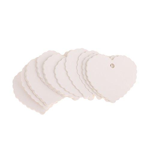 100Stk Etiketten Gift Anhänger Tags Geschenkanhänger Kraftkarton Geschenkkarten viele muster auswahl - Weiß/herz
