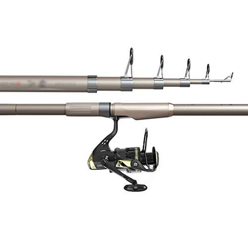NYKK Angelruten-Kit 7-Achse Spinning Reel und Angelrute Combo Praktische Teleskopstangen mit Matte Komfort-Handgriff und Helixrad Sitz for Boot Salzwasser und Süßwasser Angelruten- und Rollen-Combos