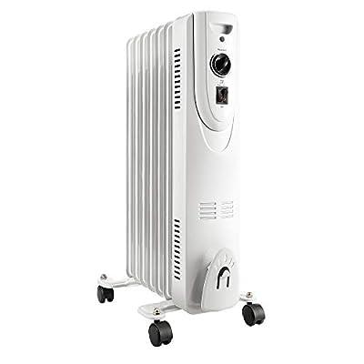 Lifesmart SH-37 1500 Watt 7 Fin Oil Filled Freestanding Portable Whole Room Radiator Heater, White