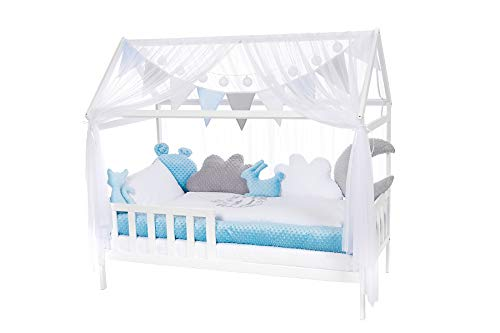 NIUXENDESIGN® HB-01 Baby Bett Haus Kinderbett 160x80 Juniorbett Inkl. Bettset, Matratze, Kissen, Design: Little Prince (Minky blau)