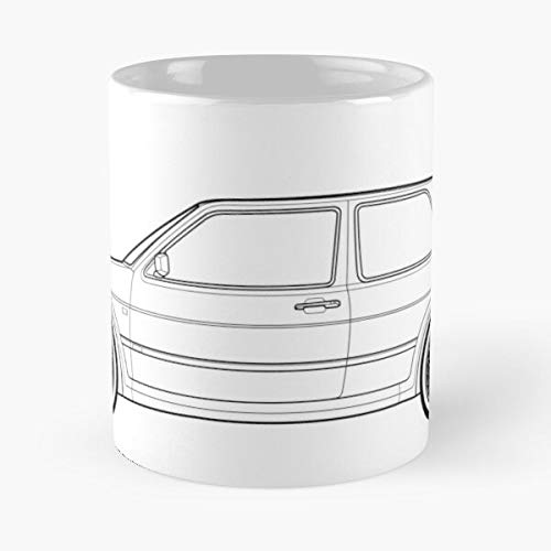5TheWay Artwork Drawing Mk Mug Golf Line GTI Best 11 oz Kaffeebecher - Nespresso Tassen Kaffee Motive