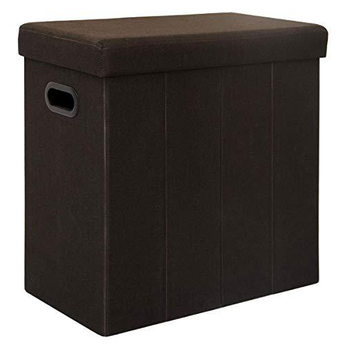 DuneDesign Faltbarer Wäschekorb 70L Wäschetruhe mit Deckel Wäschebox mit Griffen Wäschesammler Leinen-Optik Dunkelbraun