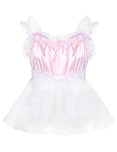 zdhoor Men's Sissy Adult Baby Lace Frilly Satin French Maid Dress Crossdress Pajamas Nightwear Nightgown Pink X-Large