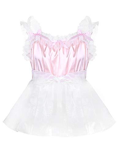 YONGHS Men's Sissy Lingerie Baby Doll Frilly Ruffled Satin Tulle Mini Dress Crossdress Pajamas Pink Medium